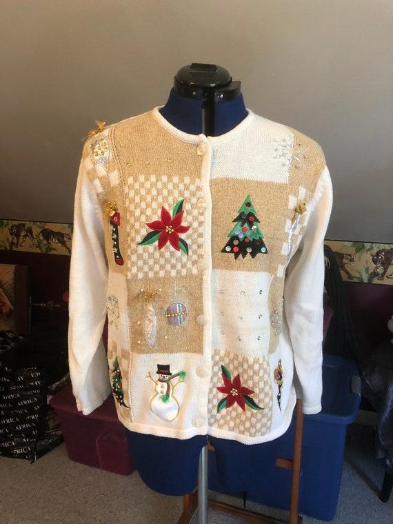Christmas sweater gold & white kitschy