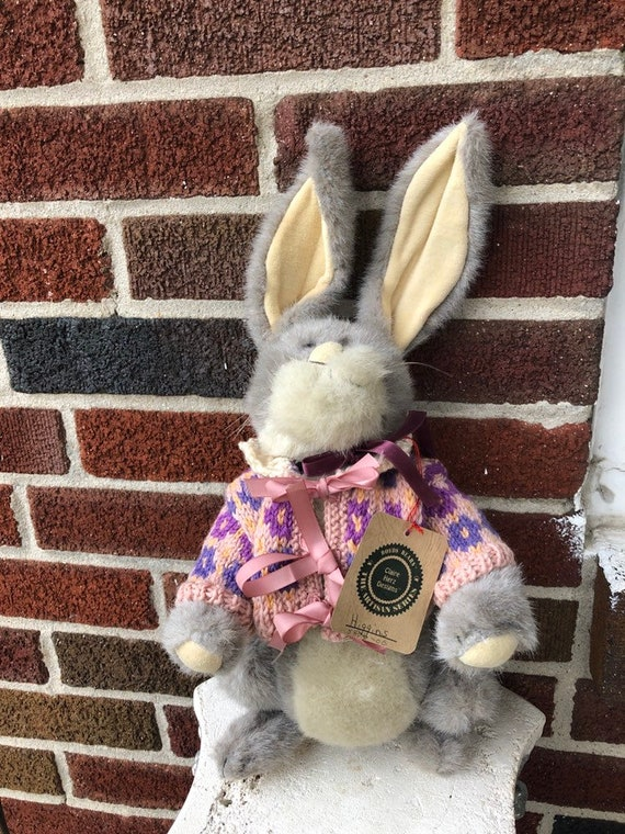 Vintage Bunny Rabbit Plush Movable Arms Legs Easter Bunny Long Ears Stuffed Toy