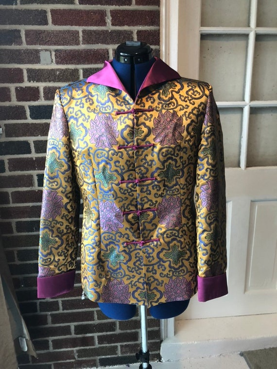 Chinese silk jacket; lotus floral embroidered ladi