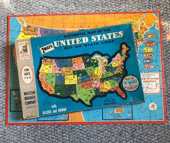 World Map Of United States Of America.Milton Bradley 2 Sided Usa World Map 20 X 14 Etsy