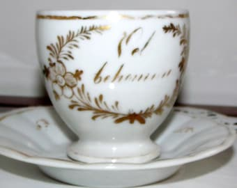 Antique Tea Cup & Saucer White w/ Gold Trim  ~ Hand Painted German or Dutch Teacup w/ Greeting ~ Gold and Ivory Antique Miniature