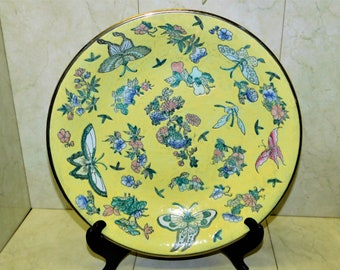Yellow Chinoiserie Porcelain Vintage Famille Jaune Ornate Serving Dishes Asian Dinnerware Jingdezhen 9 12 BOWL Food Photo Prop