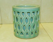Signed Celadon Double Walled Pottery Heavy Reticulated Openwork Vessel Asian Jadeite Green Stoneware Asian Art Green HEAVY VASE planter