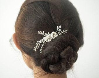 Rose II minimalist simple rose and foliage silver bridal headpiece