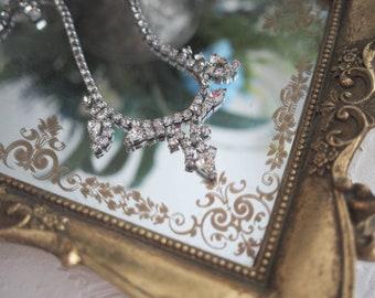 Vintage Weiss silver faux diamond rhinestones necklace
