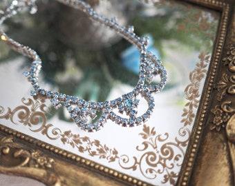 Vintage blue rhinestone necklace aquamarine colour