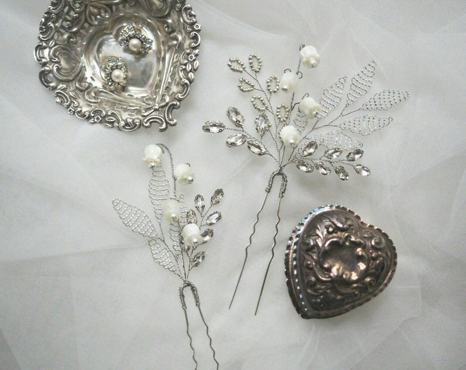 Andrea - mother of pearl lily of the valley bridal hair pins set of 2