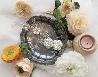 Gabriella pearl silver white camellia bridal comb hair vine