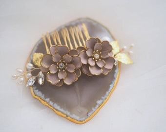Padme handpainted pink floral and fresh water pearl bridal haircomb