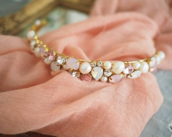 The Coco pink rhinestones and fresh water pearl headband
