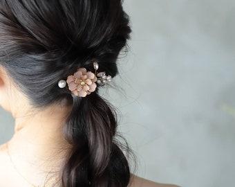 Mini Padme pink handpainted floral and fresh water pearls bridal haircomb