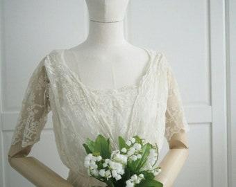 Edwardian era handmade lace wedding dress