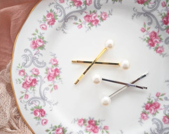 Minimalist button fresh water pearl bobby pins set of 2