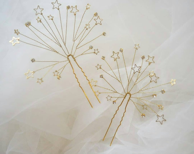 Starburst bridal hair pin set of 2