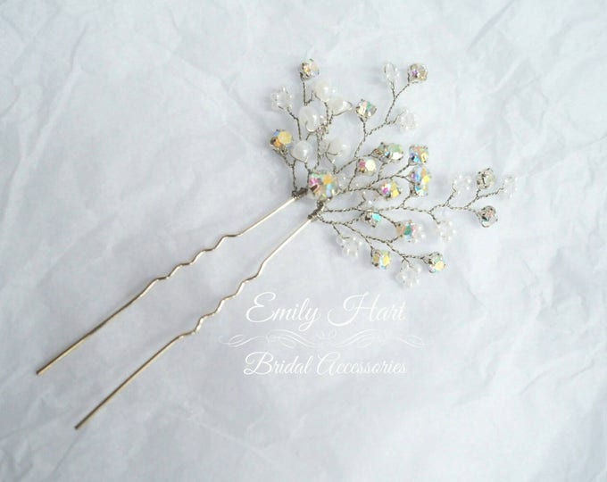 Simple hair pin with rhinstones and beads