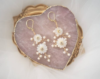 Charlotte mother of pearl daisy bridal earrings