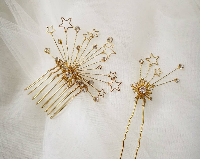Starburst Crystal bridal hair comb and pin
