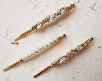 Chic golden crystals and fresh water pearl bobbie pin set of 3
