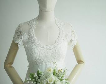 Sophisticated light vintage wedding dress XS