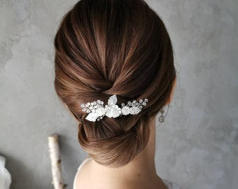 Anais silver blossoms comb with swarovski and seed pearls