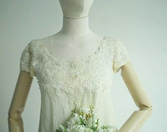 1968 silk chiffon wedding dress (reemboidered)