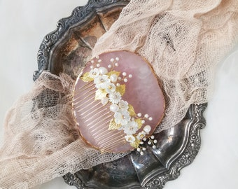 Becka pearl and mother of pearl bridal hair comb