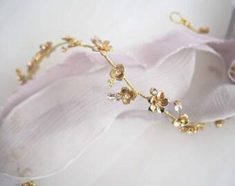 Golden Fleur blossom and rhinestones bridal hair vine