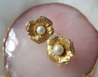 Vintage Christian Dior Pansey gold plated earrings