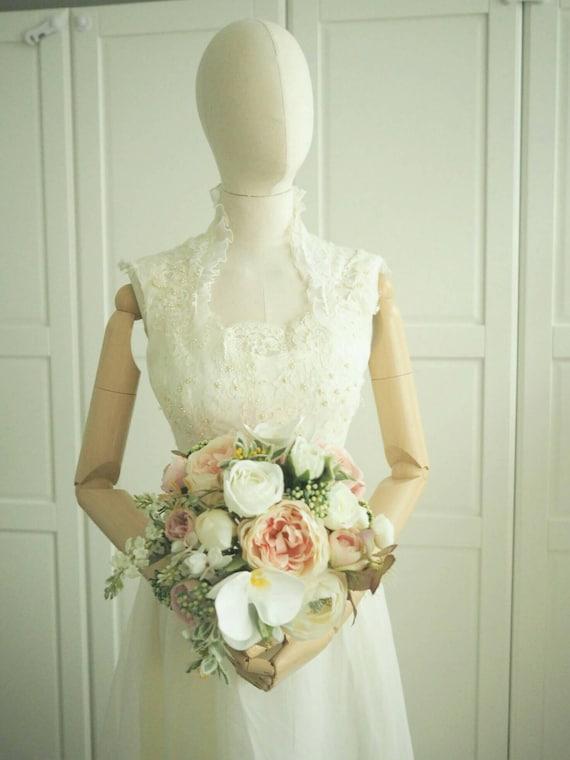 1970s queen anne neckline sheer back  wedding dress