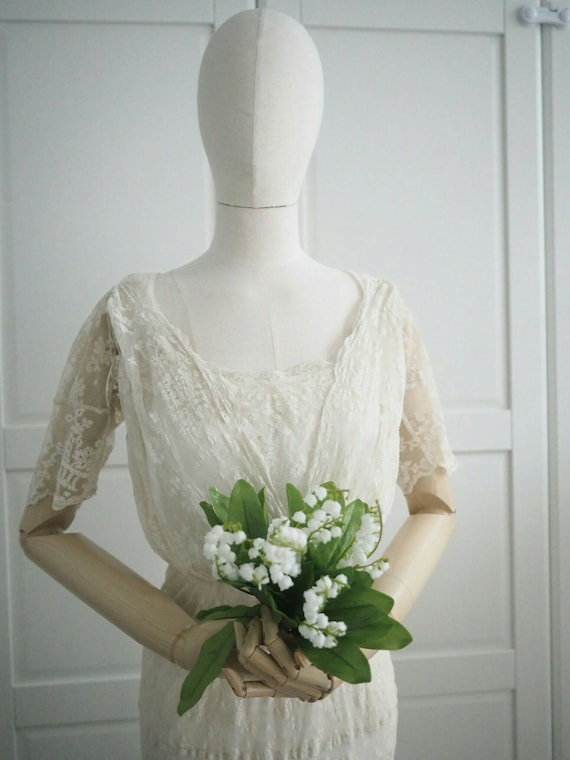 Edwardian era handmade lace wedding dress