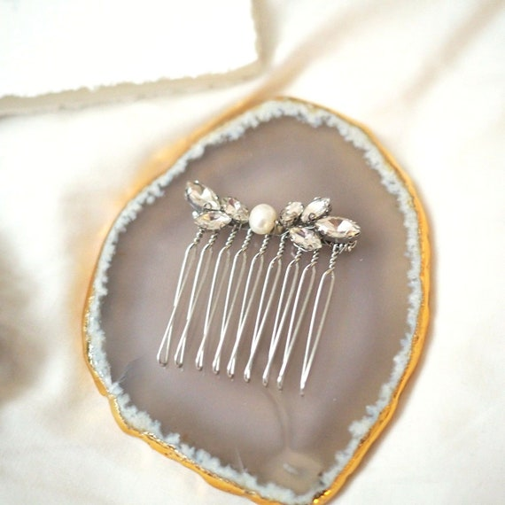 The Ava fresh water pearl and marquise crystal hair pin