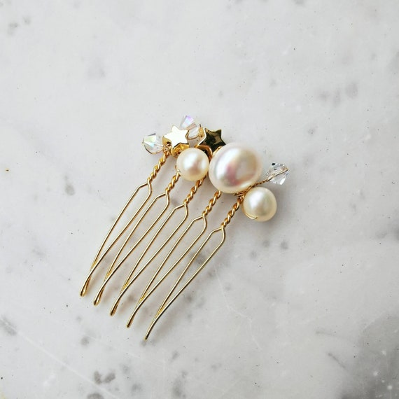 Golden stars and swarovski tiny bridal comb with genuine fresh water pearls