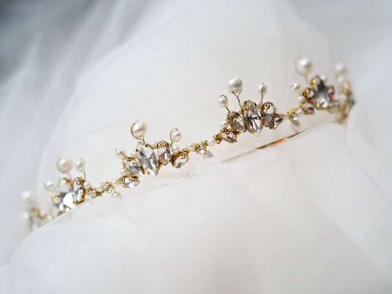 Anne marquise rhinestones and genuine fresh water pearls bridal tiara