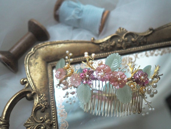 Chinese Princess Gemma floral bridal hair comb