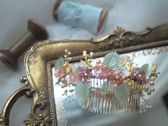 Chinese Princess Gemma floral bridal hair comb