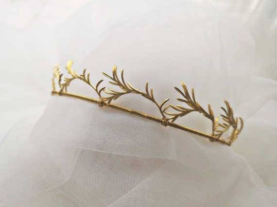The Rosemary foliage simple bridal tiara