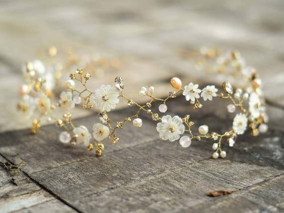 Natalie mother of pearl fresh water pearl rose quartz bridal hair vine