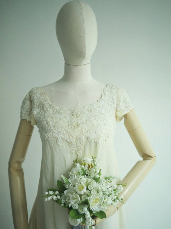 1968 silk chiffon wedding dress (reemboidered)
