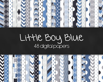 Little Boy Blue Digital Paper Pack - INSTANT DOWNLOAD