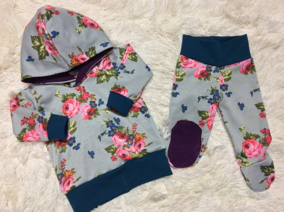 Girls Going Home Outfit French Terry Floral Hoodie And Footie Set Going Home Outfit Baby Baby Girl Outfit Girls Winter Set