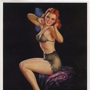 Vintage 1930s Pin-Up Poster of Redhead With Seashell Listening Nymph by Jules Erbit
