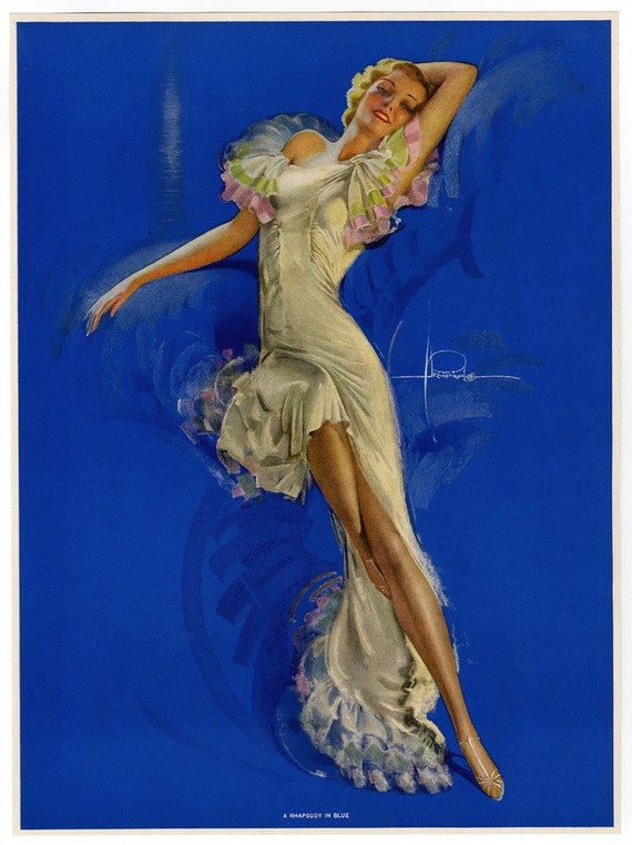 /'Nude Dancer/'//Beautiful reproduction// Rolf Armstrong Art Deco Poster//Print