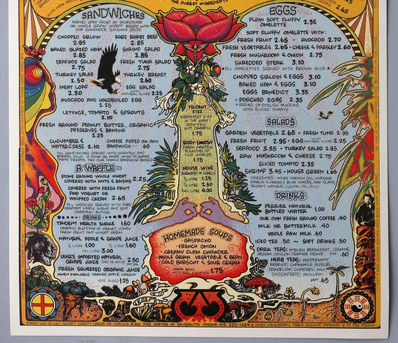 Vintage 1972 Rock /& Roll Menu Poster Psychedelic Groovy Graphics Hippie Trident