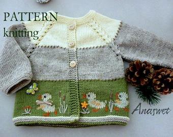 0811ae7c7 Knitting pattern baby cardigan Ducklings.P005NEW