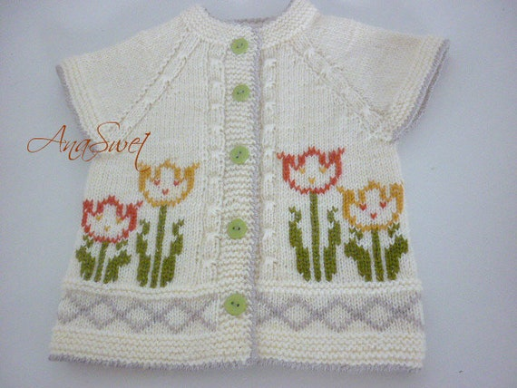 9b26f5377d74 Knitting pattern baby vest Tulips.P054