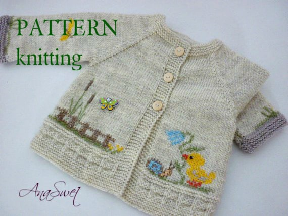 Knitting Pattern Baby Cardigan With Chickenwp004 Etsy
