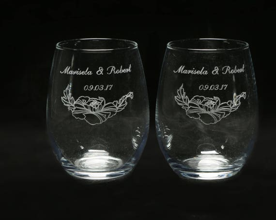 Stemless Rose Wine Glasses