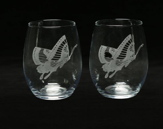 Stemless Butterfly Wine Glass