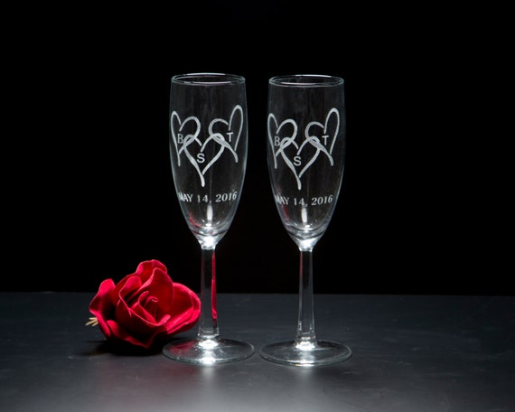 Triple Heart Champagne Flutes