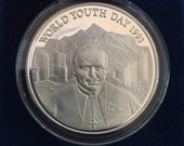 Silver 1993 World Youth Day Commemorative Medal Featuring Pope Paul - Silver Coin - Vintage Catholic Gift -